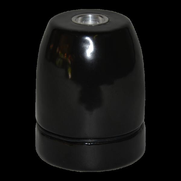 Premium Porzellanfassung E27 schwarz glanz