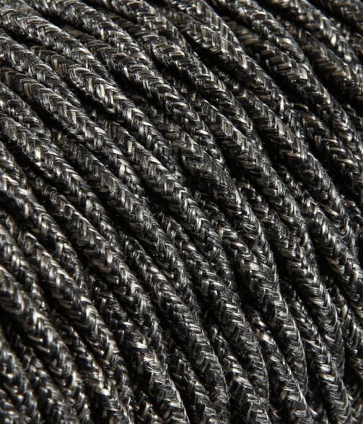 Textilkabel Baumwolle dunkelgrau verdrillt TR403, 3 x 0,75mm²