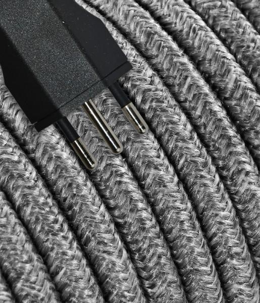 Anschlusskabel Textil 3m Baumwolle grau mit Stecker T12