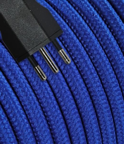 Anschlusskabel Textil 5m blau mit Stecker T12