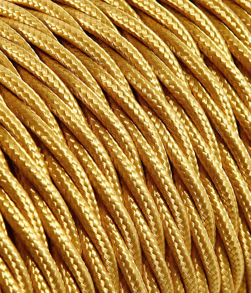 Textilkabel gold verdrillt, 2 x 0,75mm²