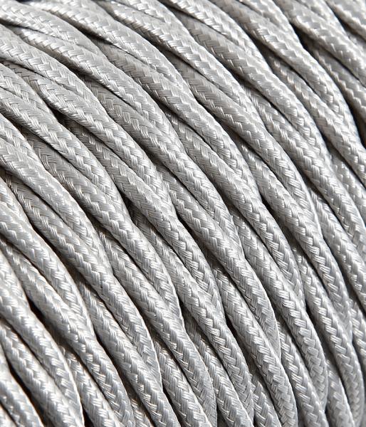 Textilkabel silber verdrillt, 3 x 0,75mm²