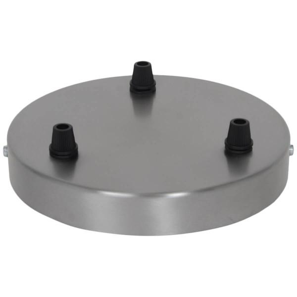 3-loch Lampenbaldachin Stahl gebürstet grosse Variante
