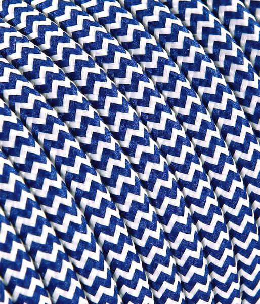 "Textilkabel blau/weiss ""Zick-Zack"" TO110, 3 x 0,75mm²"