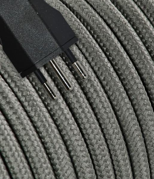 Anschlusskabel Textil 5m grau mit Stecker T12