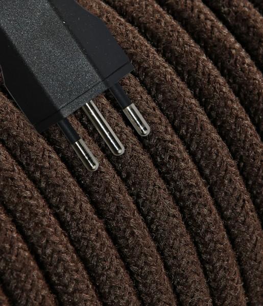 Anschlusskabel Textil 5m Jeans braun mit Stecker T12