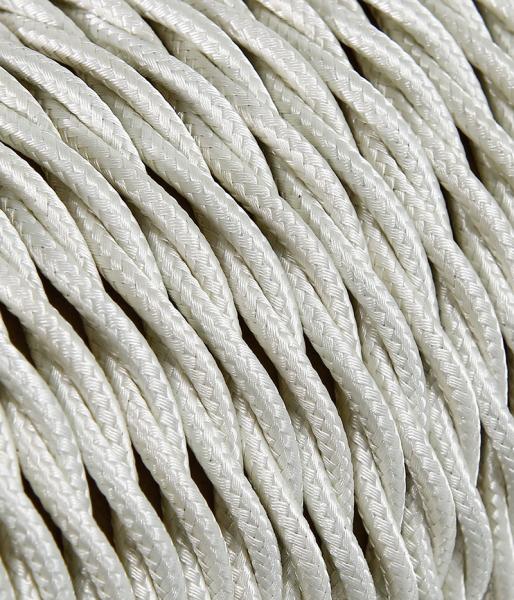 Textilkabel Elfenbein verdrillt, 3 x 0,75mm²