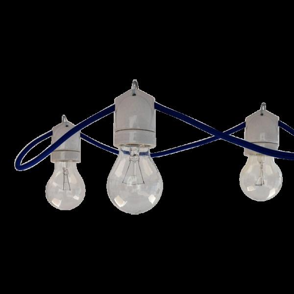 Lichterkette mit Porzellan Fassungen