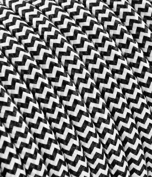 "Textilkabel schwarz/weiss ""Zick-Zack"" TO112"