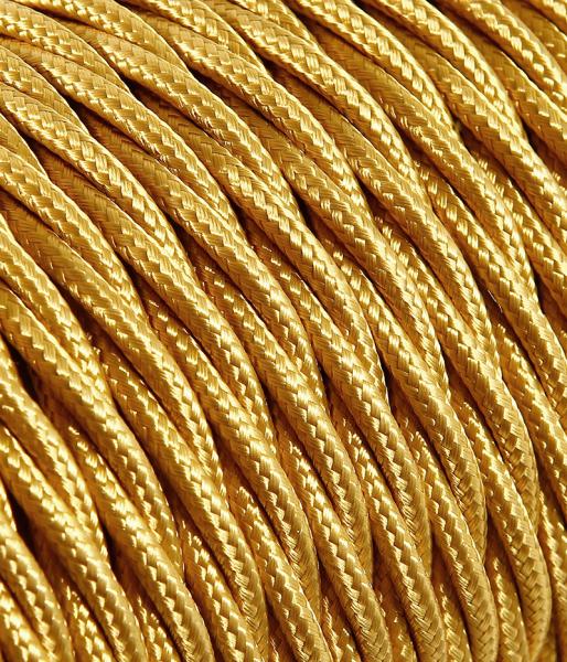 Textilkabel gold verdrillt 10.17, 3 x 0,75mm²