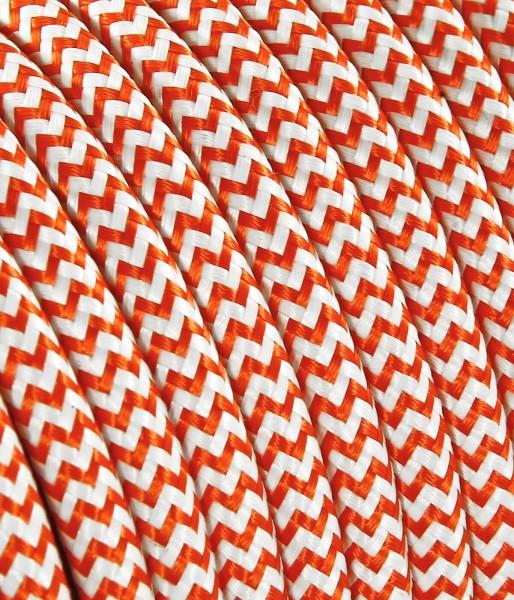 "Textilkabel orange/weiss ""Zick-Zack"" TO105, 3 x 0,75mm²"