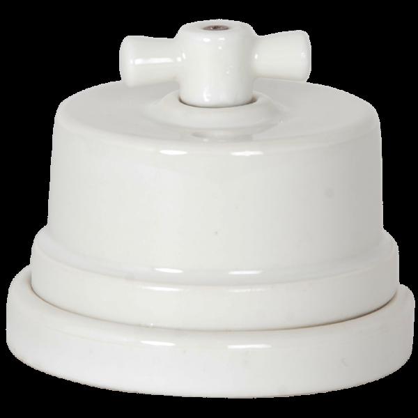 Knopfloch Drehschalter Porzellan weiss