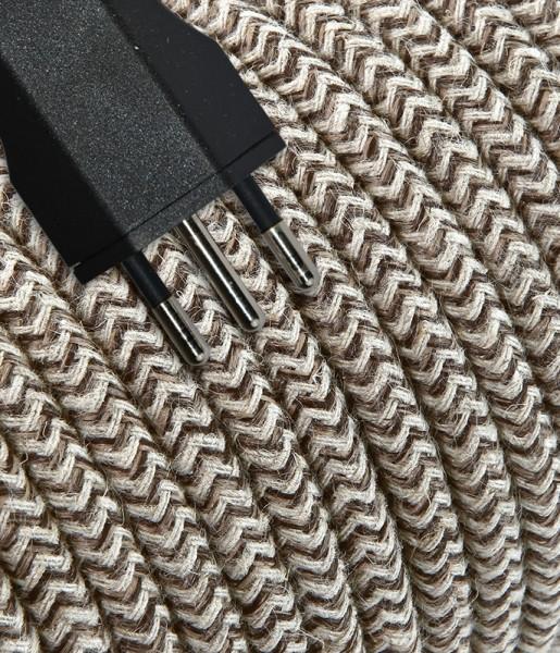 Anschlusskabel Textil 3m sabbia/braun-zickzack mit Stecker T12