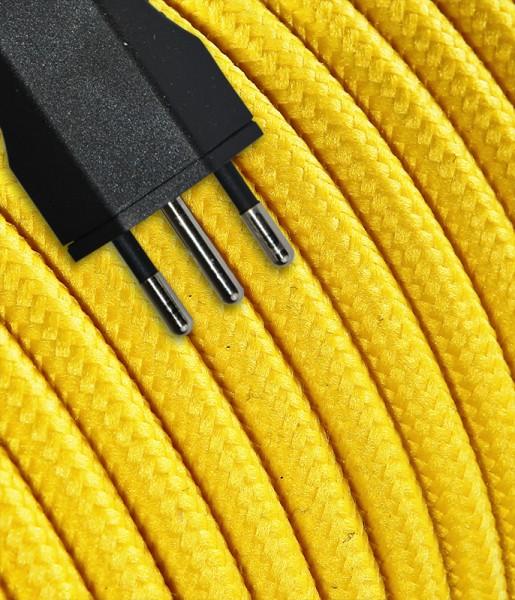 Anschlusskabel Textil 3m gelb mit Stecker T12