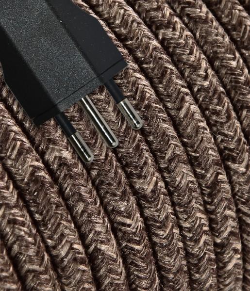 Anschlusskabel Textil 5m Baumwolle braun mit Stecker T12