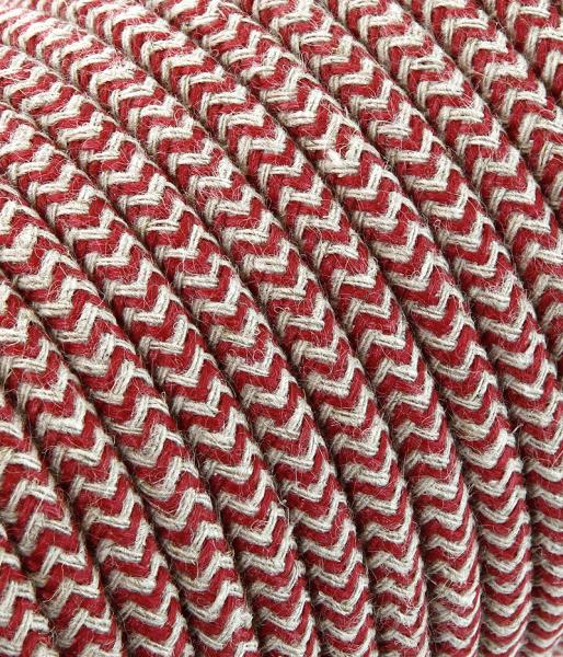 """Textilkabel sabbia/cherry """"Zick-Zack"""" TO432, 3 x 0,75mm²"""