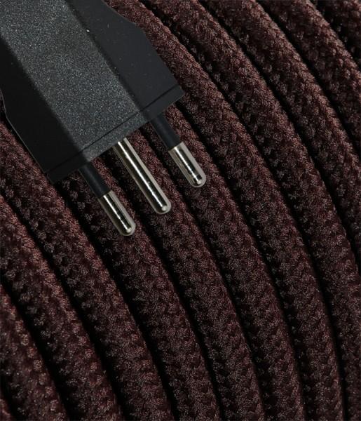 Anschlusskabel Textil 5m braun mit Stecker T12