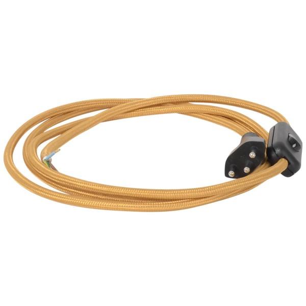 Anschlusskabel gold mit Stecker und Schalter