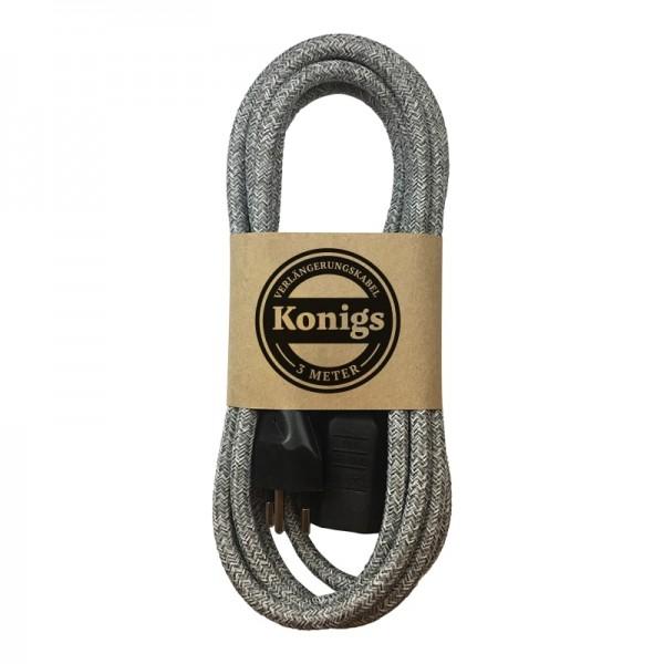 Verlängerungskabel Textil grau von Konigs
