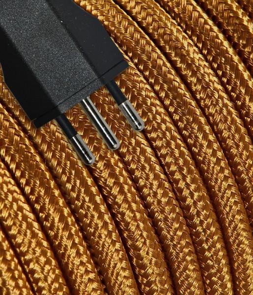 Anschlusskabel Textil 3m whisky mit Stecker T12