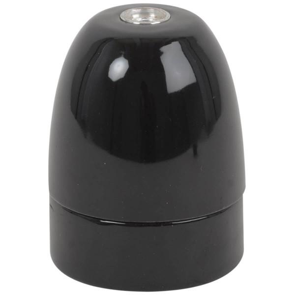 Premium Porzellanfassung E40 schwarz glanz