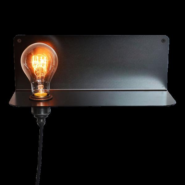 90° | Regal- Wandleuchte schwarz galvanisiert mit Metallfassung bronzed finish