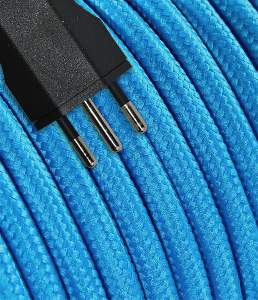 Anschlusskabel Textil 5m hellblau mit Stecker T12