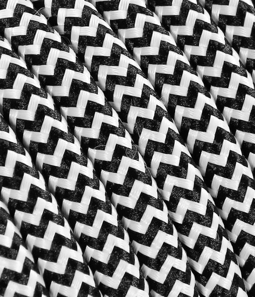 "Textilkabel schwarz/weiss ""Zick-Zack"", 3 x 1.5mm²"