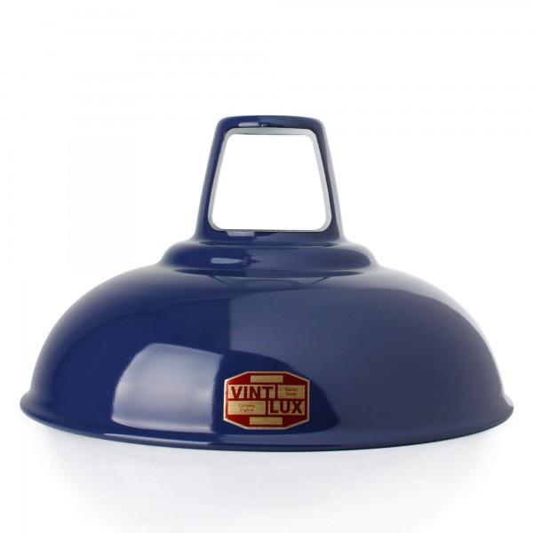 Emaille Lampenschirm Navy Blue 1933 Vintlux