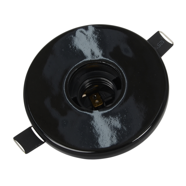 Deckeneinbaufassung Porzellan E27 schwarz