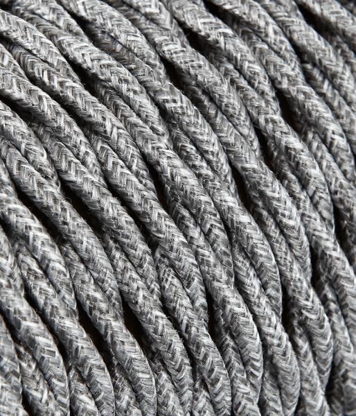 Textilkabel Baumwolle grau verdrillt TR402, 3 x 0,75mm²