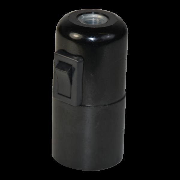 Bakelit Fassung E27 mit Kippschalter schwarz